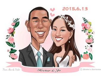 Custom Personalized Wedding/Couple Cartoon Portrait Caricatures, Custom Caricatures illustration from photos, Personalized Gifts for lover