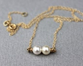 Gold Double Pearl Necklace, dainty gold necklace,