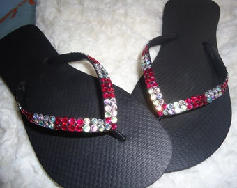 Crystal Flip Flops With Red And AB Crystals-Cariris