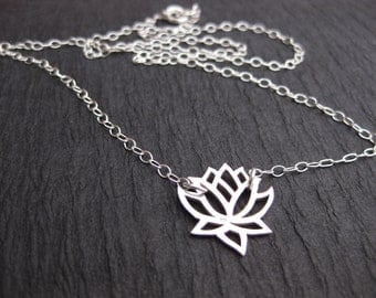 925 Sterling Silver Lotus Necklace | Lotus Flower Yoga Necklace | Protection Jewelry | Sterling Silver Delicate Necklace