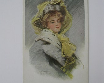 Philip Boileau - Artist Signed Post Card - 1907 - Winter Whispers - Used
