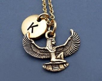 Isis necklace, Egyptian goddess Isis, Gold Isis, Winged Isis, Egyptian theme, Aset, Iset, initial necklace,personalized, monogram