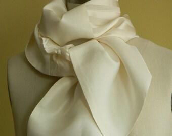 One Of A Kind Scarf Off White Silk Scarf Silk Chiffon Silk Dupioni,Ivory Scarf,Spring Scarf, Summer Scarf, Mothers Day Gift
