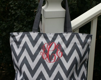 Personalized Gift Zippered Chevron Womens Tote Bag 12 Colors
