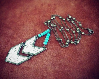 Lacey // Chevron Necklace // Boho Necklace // Turquoise Necklace // Bohemian // Tribal Necklace // Gypsy // Lace Necklace // Hippie
