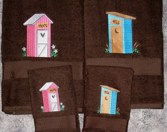 HIS and HERS Outhouses Towel Set - Country Outhouse Bath & Hand Towels - Wedding Couples, Anniversary Gift - Cabin or Home Decor,