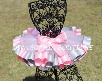 Pink and Gray Ribbon Tutu - Newborn Baby Infant Tutu - Toddler Tutu