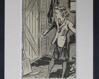 1940s Vintage Schoolgirl Print, Gardener Gift, Available Framed, Girls' Art, Allotment Picture, Garden Shed Wall Art, Retro Adventure Decor