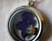Pansy necklace, pansy locket, silver locket, dried flower pendant, terrarium necklace, flower pendant, pansy