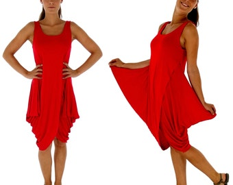 GD100 ladies dress asymmetrsich balloon form layered look Gr. 34-38 Red
