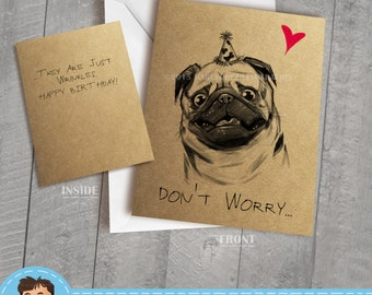 Kraft Pug Birthday Card,  Approximately 5 x 7 Blank Card with White Envelope, Animal, Dog Illustration, Black and White, Cute and Funny Gift