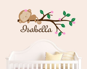 Monkey Decal - Wall Vinyl - Monkey Wall Decals - Vinyl Decal - Girls room decal - Personalized Decal - Kids Decals - Decals - Monkey