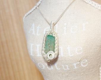 Emerald Mini Pendant, Sterling Silver Wire Wrap