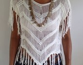 Reserve for Alaxandra White V Fringed Summer Top. Very Soft and Comfortable.