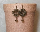Boho Chic Gypsy Antique Brass Earrings - Floral Filigree - Faceted Smoke Colored Glass Bead