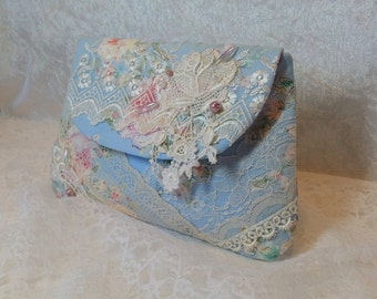 Shabby Chic Clutch - Something Blue - Lace Wallet - Bridal Clutch - Bridesmaid Clutch - Small Lace Hand Bag - Lace Make Up Bag