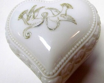 Vintage Avon Heart Cream Sachet with Doves Decanter / Bottle Figurine, It Is EMPTY - Home Decor - Collectible Avon
