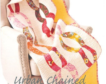 """Pattern """"Urban Chained'' Quilt Paper Pattern/ Instruction Guide by Sew Kind of Wonderful"""