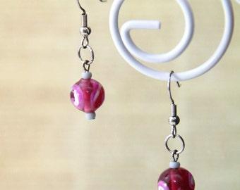 Pink Beaded Dangle Earrings (E0043)