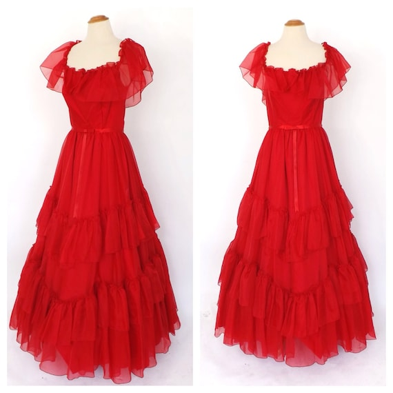 Vintage 1970s Rose Red Southern Belle Bridesmaid Prom Dress