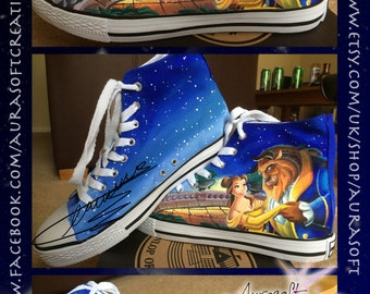 Custom Painted Hi Top Beauty and the Beast Disney Shoes