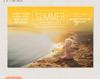 Mini Session Photography Marketing board - Spring Summer Minis MSU001 - Photoshop template INSTANT DOWNLOAD