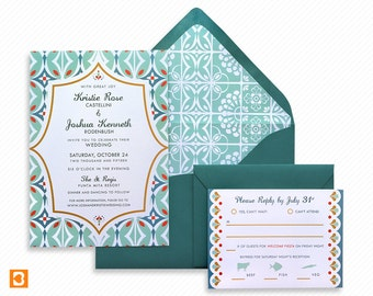 Mexican Destination Wedding Printable Invitation Suite with Print-at-Home Save the Date and Print-ready Info Card Inspired by Talavera