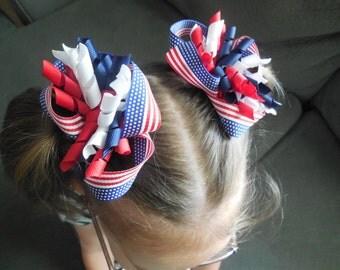 Patriotic Pigtail Bows