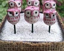 Love Owl Fairy Garden Accessory - Miniature Fairy Garden Bird - Pink Owl