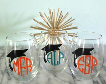 Monogram Graduation Stemless Wine Glass - Cheers to the Graduate!