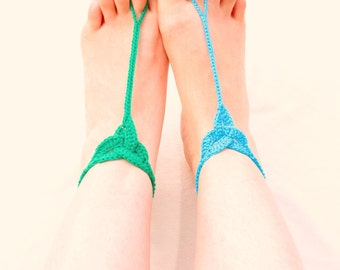 Crochet Celtic Knot Barefoot Sandals Turquoise and Green