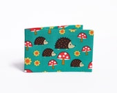Hedgehog Oyster Card Wallet, Travel Card Holder. Fabric Credit Card Case for up to 12 cards - Red and Teal Hedgehogs