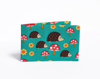 Hedgehog Oyster Card Wallet, Stocking Filler, Travel Card Holder. Fabric Credit Card Case for up to 12 cards - Red and Teal Hedgehogs