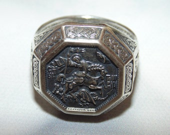 Sterling Silver Christian Mens Religious Catholic Orthodox Signet 925 Ring Saint George Dragon Slayer Protector Свети Георги Jewelry For Him