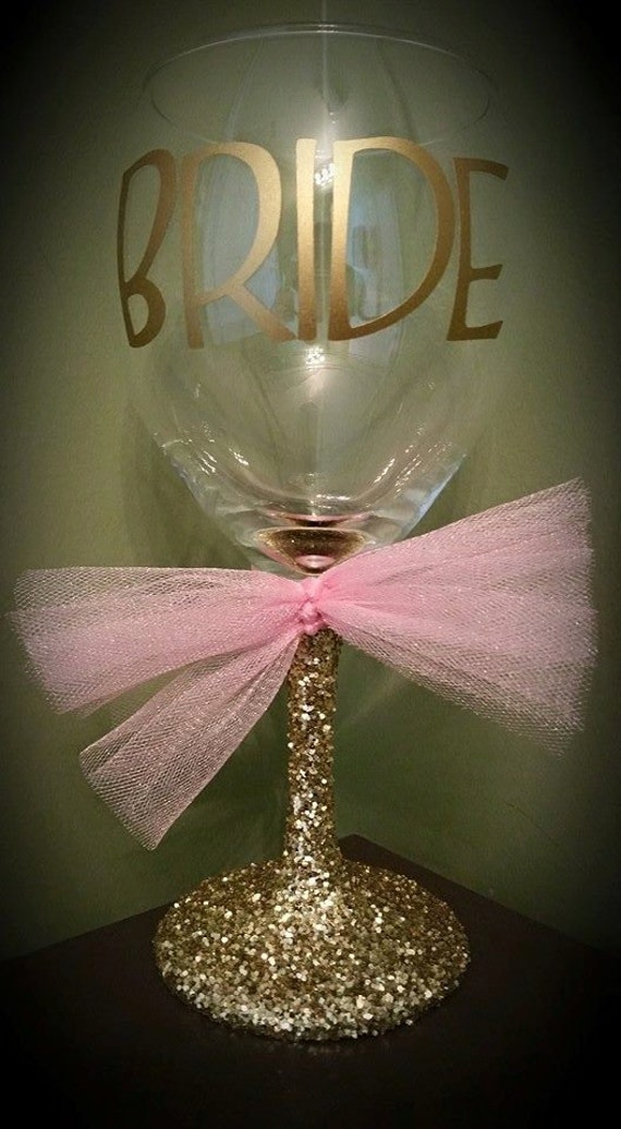 Bride Glitter Stemmed Wedding Wine Glass For The Bride To Be
