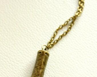 1 x Bronze Tone Pendant, Bronze Bullet Pendant Necklace