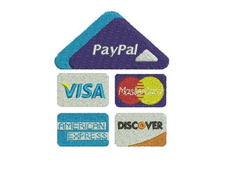 Machine Embroidery Design Instant Download - Paypal Here Credit Card Logo 2