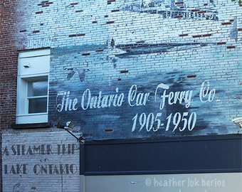 Ontario Car Ferry Co Advertisement - Wall Decor - Fine Art Photography Print - Blue Brick, Industrial, Cobourg, Advertising