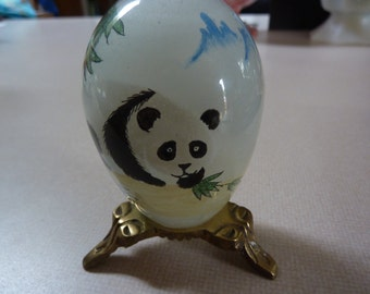 PRETTY PANDAS<<>>Vintage Hand Blown<>Reverse Painted Egg with Brass Tri Leg Stand