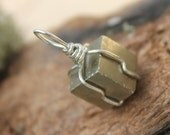 Wire wrapped Iron Pyrite cube pendant