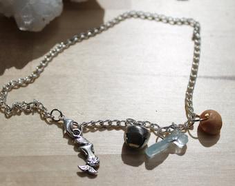 Mermaid Anklet with Aquamarine and seashell