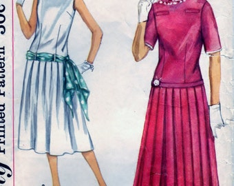 Jr. Misses' and Teen Age Two-Piece Dress and Sash  - Size 10 Bust 30 - CUT Simplicity 2363 OOP