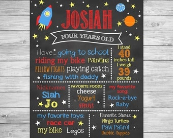 Birthday Chalkboard Poster Printable -  Astronaut, Outer Space, Out of this World