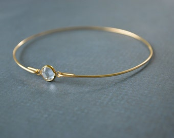 Closeout item------ Gold Crystal Bangle Bracelet ,Cute Bangle bracelet. Bridesmaids Gifts.