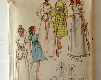 Vintage Butterick 6059 Pattern - Wedding Dress and Bridesmaids Dress Size 10
