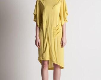 30% Season Off_Monica Kate Unsymmetrisch Tencel Dress_Curry Yellow
