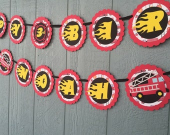 Fire Truck Birthday Banner - Firefighter Banner - Fireman theme birthday - Personalized with Name and Age - Red, Black, Yellow & White