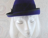 Cobalt Blue Hat. Asymmetrical Fur Felt Fedora. Navy Ladies Trilby. Vintage Style Couture Millinery. Women's Angled Hat w/ Black Lace Cockade