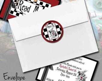 Alice In Wonderland Envelope Seals - Printed OR Printable Digital File