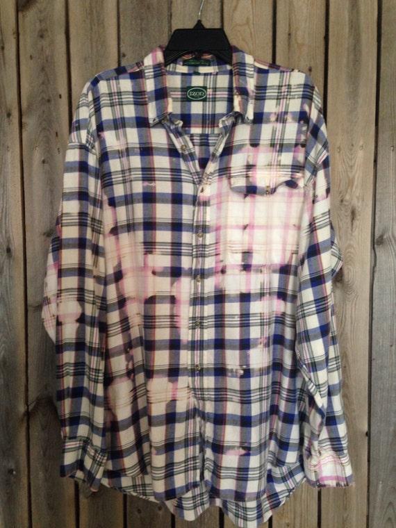 Super soft grunge bleached flannel unisex shirt xlarge for Super soft flannel shirts